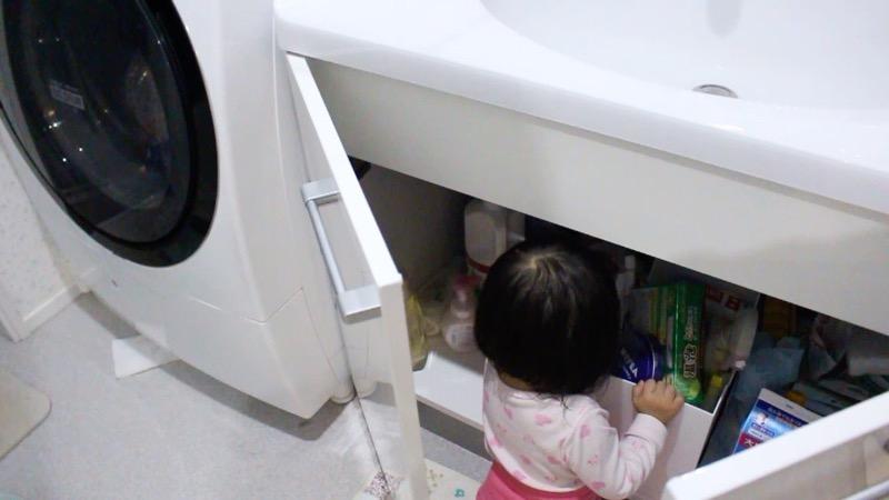 子どもいたずら_洗面台収納