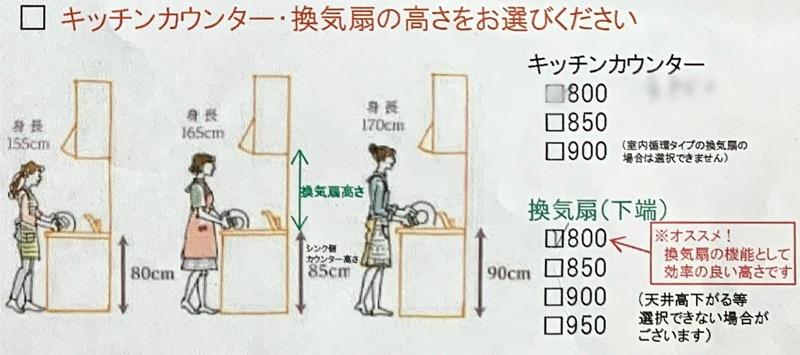 カタログ_キッチンカウンター・換気扇の高さ