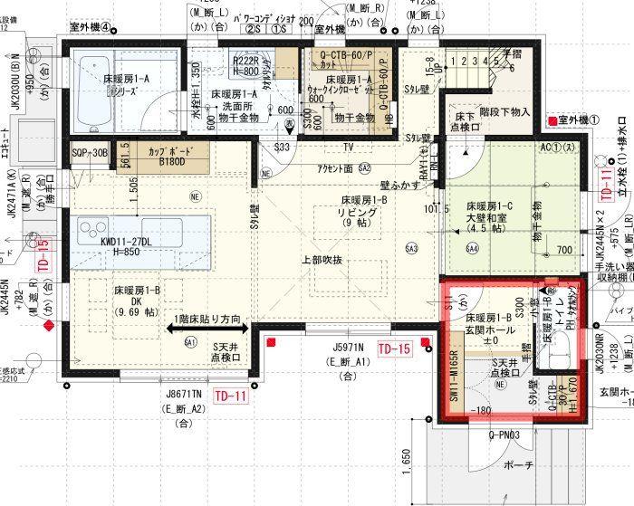 間取り図_1階_玄関とトイレ