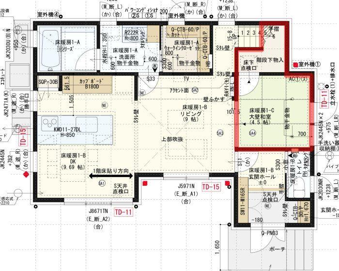 間取り図_1階_和室と階段下収納